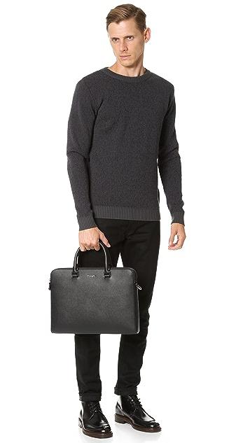 Michael Kors Harrison Leather Medium Double Zip Briefcase
