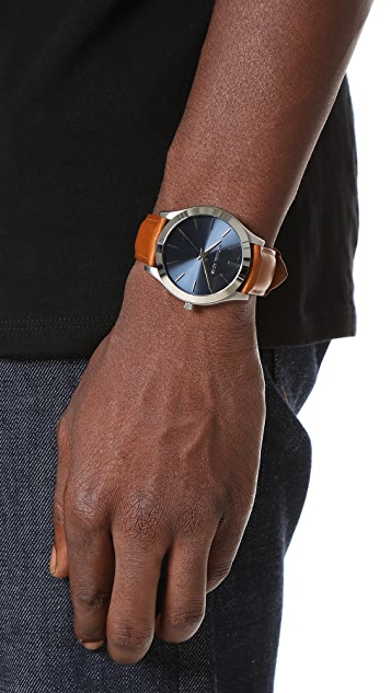 Michael Kors Slim Runway Leather Watch