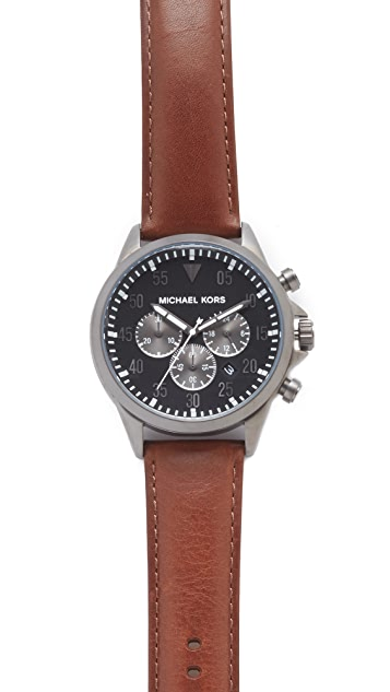 Michael Kors Gage Leather Chronograph Watch