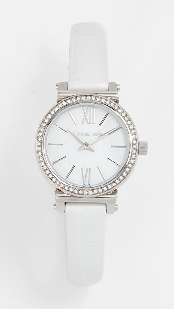 Michael Kors Petite Sofie Watch, 25mm - Silver/White