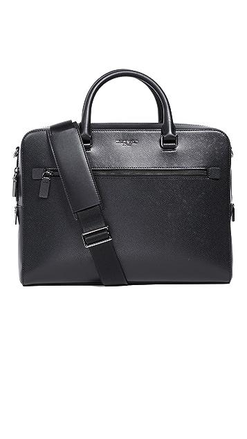 Michael Kors Harrison Leather Zip Briefcase