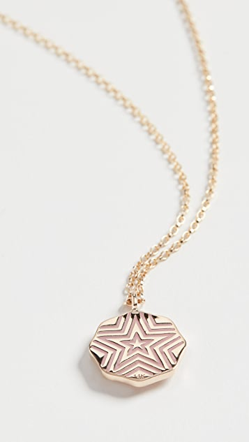 Marlo Laz 14k Mini Porte Bonheur Enamel Coin Necklace