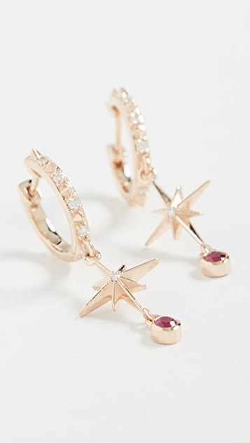 Marlo Laz 14k Lucky Star Hoop Earrings