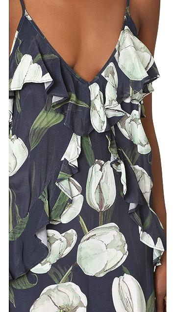 MLM LABEL Ruffle Slip Midi Dress