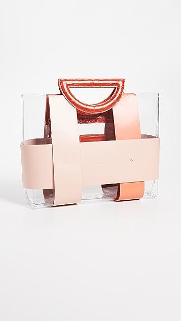Mlouye Объемная сумка с короткими ручками Chequer