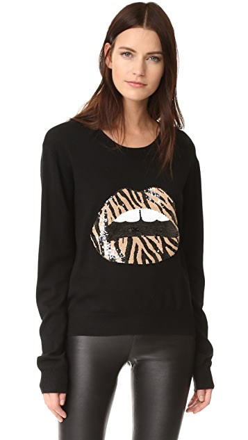 Zebra Sequin Lip Sweater