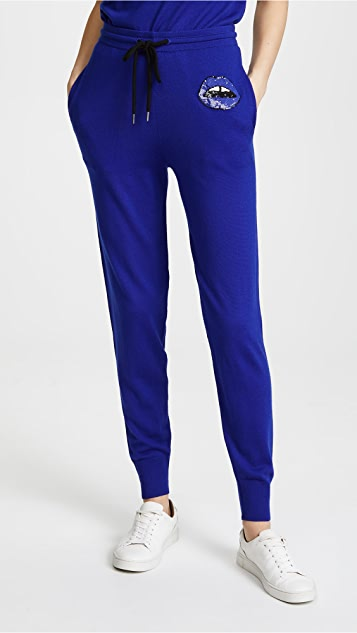 Markus Lupfer Sequin Lip Joggers - Electric Blue