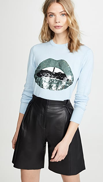 Markus Lupfer Mia Metallic Sequin Lip Sweater - Light Blue/ Green