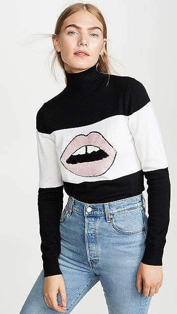 Markus Lupfer Emma Sequin Lip Rollneck Sweater
