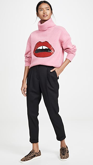 Markus Lupfer Elinor Rib Sequin Lip Sweater