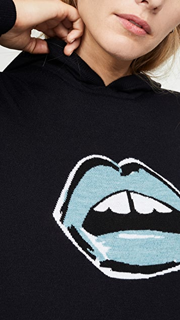 Markus Lupfer Трикотажная толстовка с капюшоном Mia с раскрашенным изображением губ