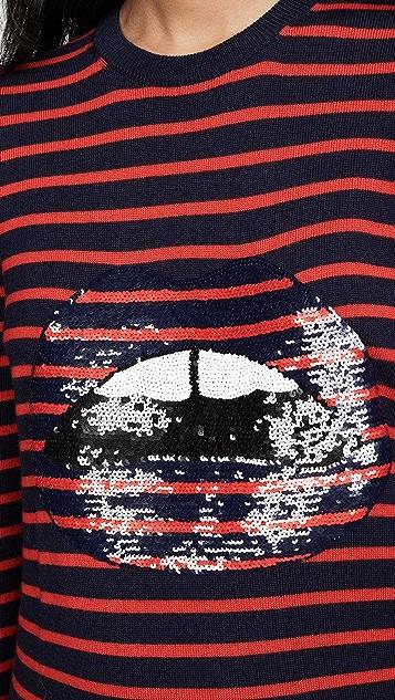 Markus Lupfer Mia Stripe and Sequin Lip Sweater