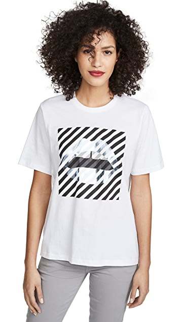 Markus Lupfer Alex 斜裁条纹唇形 T 恤