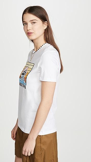 Markus Lupfer Kate 亮片波纹形日落唇形 T 恤