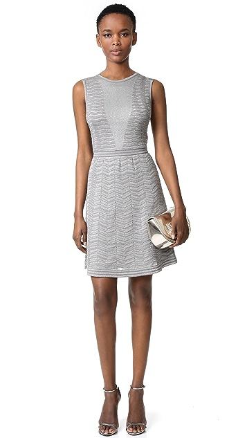 M Missoni Solid Metallic Zigzag Dress