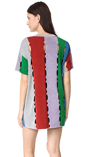 M Missoni Metallic Stripe T Shirt Dress