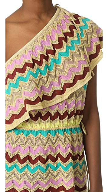 M Missoni One Shoulder Ruffle Top