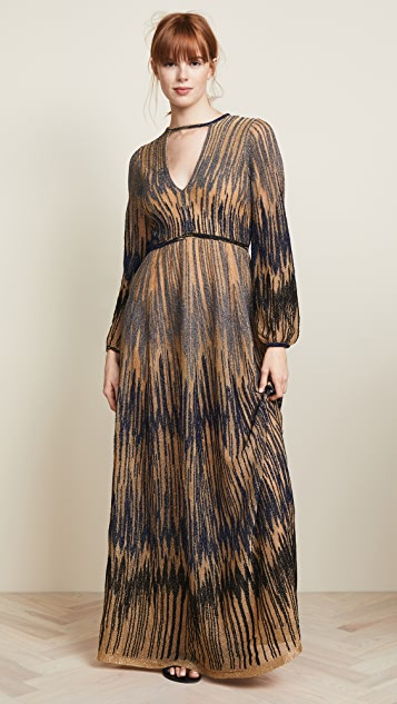 M Missoni Long Sleeve Keyhole Dress