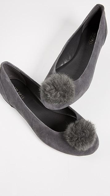 MICHAEL Michael Kors Remi Fur Pom Pom Ballet Flats