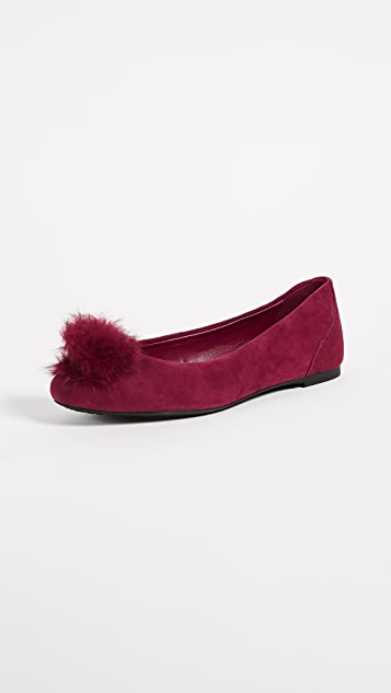 MICHAEL Michael Kors Remi Fur Pom Ballet Flats
