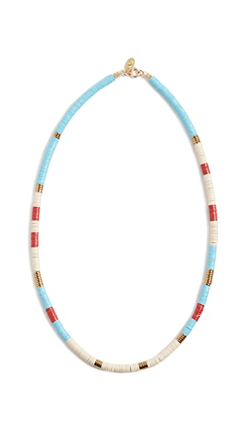 Maison Monik Голубое колье в разноцветную полоску