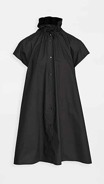 MM6 Maison Margiela Ruffle Neck Poplin Shirtdress