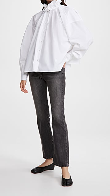MM6 Maison Margiela 荷叶边领口府绸衬衫