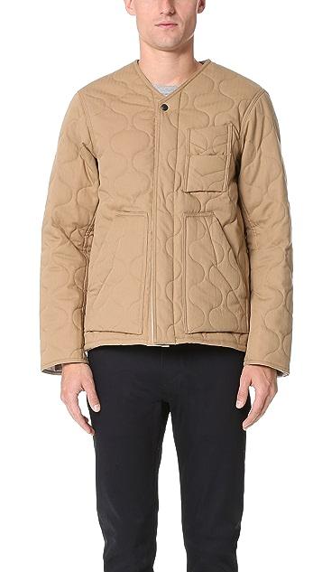 Monitaly Herringbone Cotton Quilted Utility Jacket