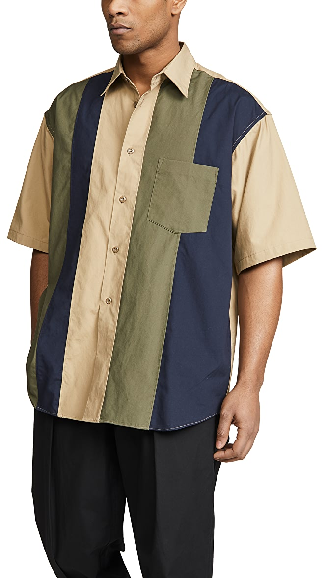 Monitaly Half Sleeve Paneled Shirt | EAST DANE