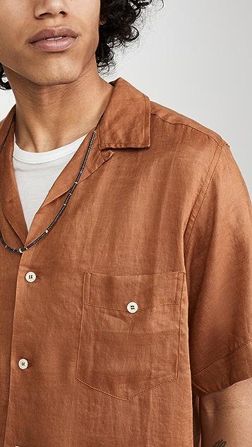 Monitaly Short Sleeve Linen Guayabera Shirt