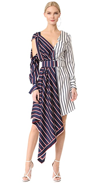 Monse One Shoulder Striped Dress
