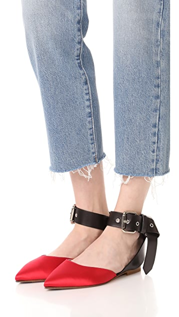 Monse Satin Ankle Strap Flats