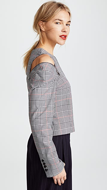Monse Glen Plaid Shoulder Zip Top