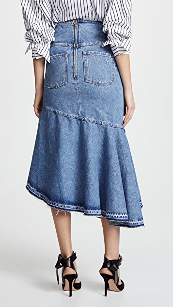 Monse Fold Waist Denim Trumpet Skirt