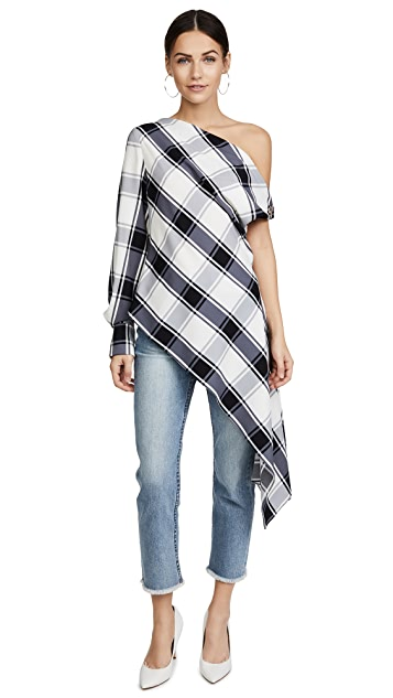Monse Plaid One Sleeve Blouse
