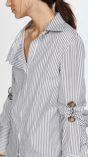 Monse Scrunch Sleeve Grommet Shirt