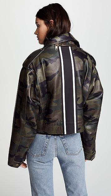 Monse Cropped Camo Racing Stripe Jacket