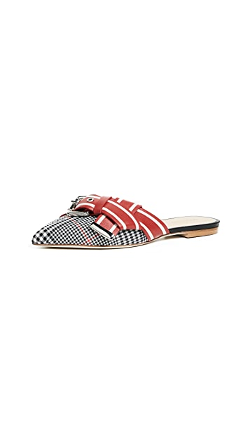 Monse Glen Plaid Racing Stripe Mules