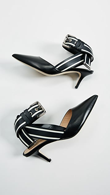 Monse Leather Racing Strap Kitten Heels
