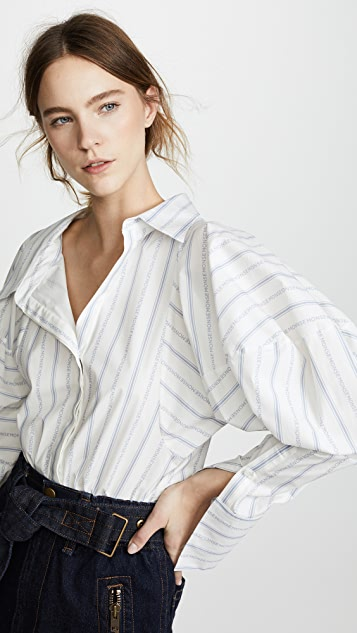 Monse Melting Sleeve Stripe Shirt - White/Blue