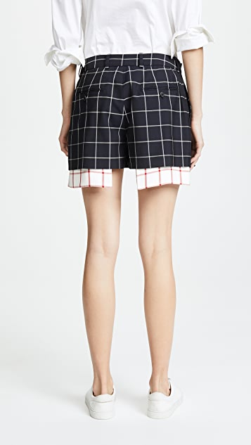 Monse Peek a Boo Windowpane Shorts