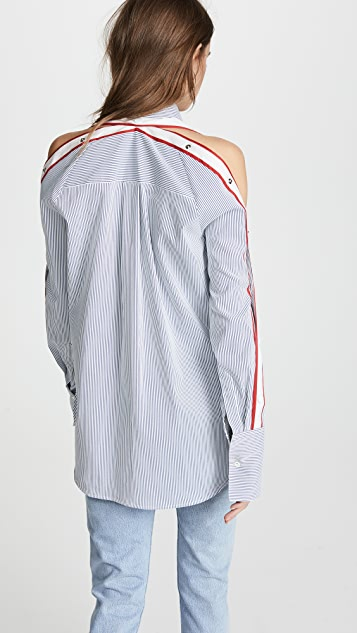 Monse Raglan Snap Sleeve Stripe Shirt