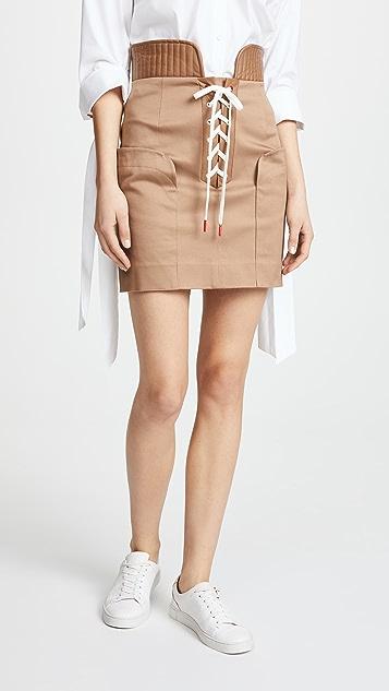 Monse Lace Up Cotton Miniskirt