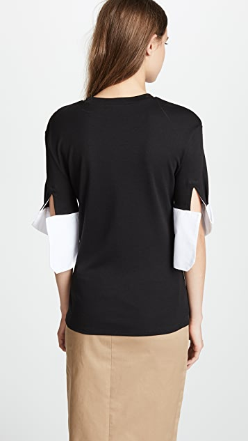 Monse T Shirt with Contrast Cuffs