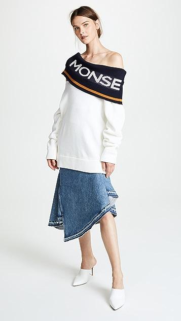 Monse Twist Logo Shawl Sweater
