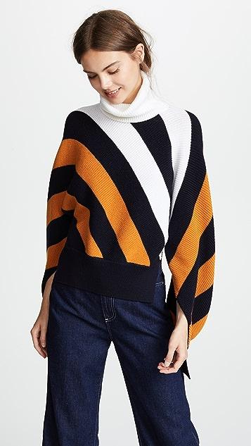 Monse Diagonal Stripe Wool Turtleneck Sweater