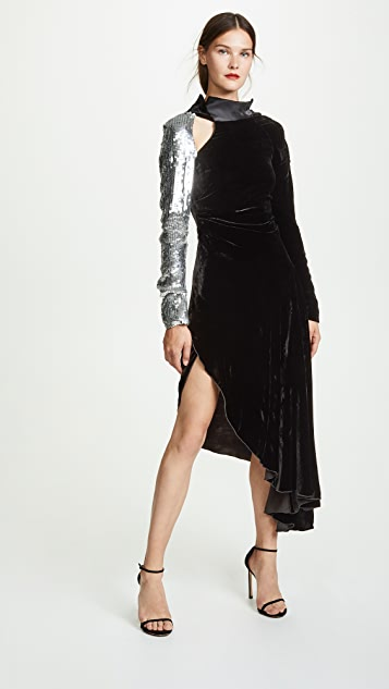 Monse Velvet Sequin Sleeve Flare Gown