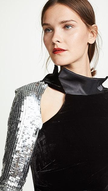 Monse Velvet Sequin Sleeve Flare Gown