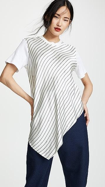 Monse Асимметричная футболка в тонкую полоску