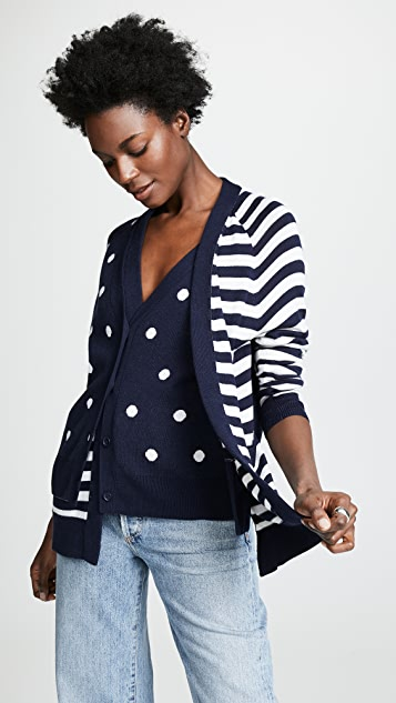 Monse Dot and Stripe Double Cardigan